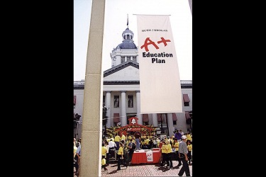A+ Bush Brogan Education Plan Banner in Front of Florida Capitol Building