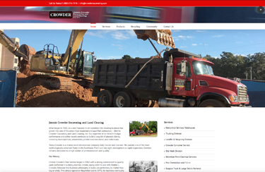 Crowder Excavating website featuring bulk dirt and fill web